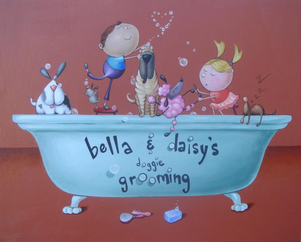 Bella and Daisy's Doggie Grooming - custom sign painting