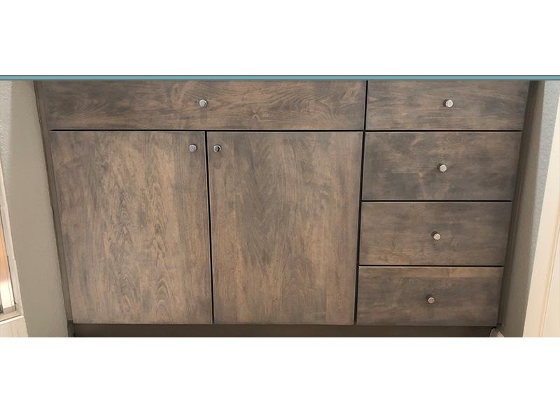 Bathroom cabinet refinish grey finish