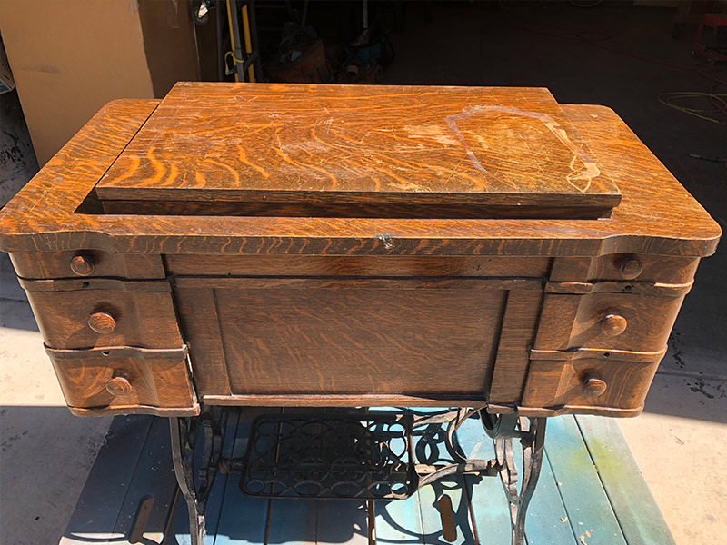 Antique sewing table restoration-before