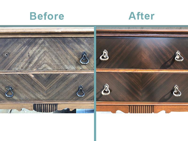 Antique sideboard restoration-detail