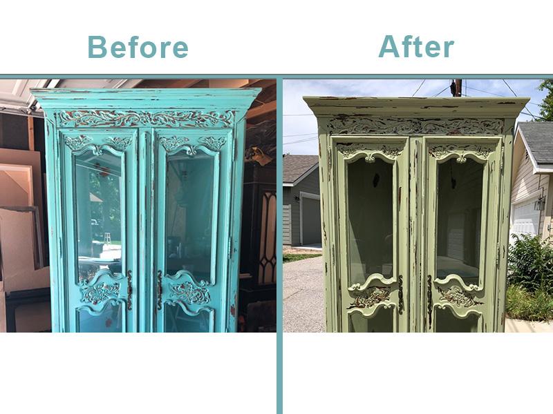 Aqua cabinet refinish