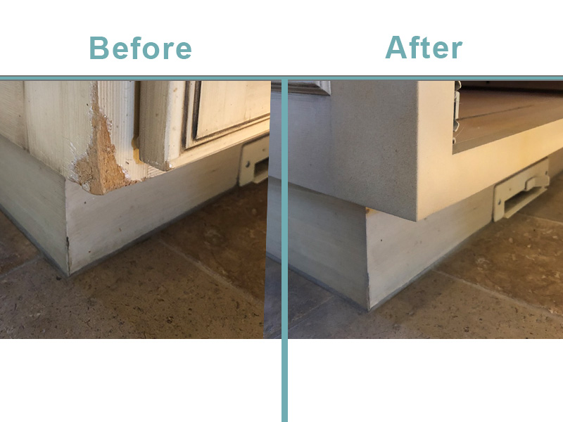 Kitchen cabinet repairs-water and pets.